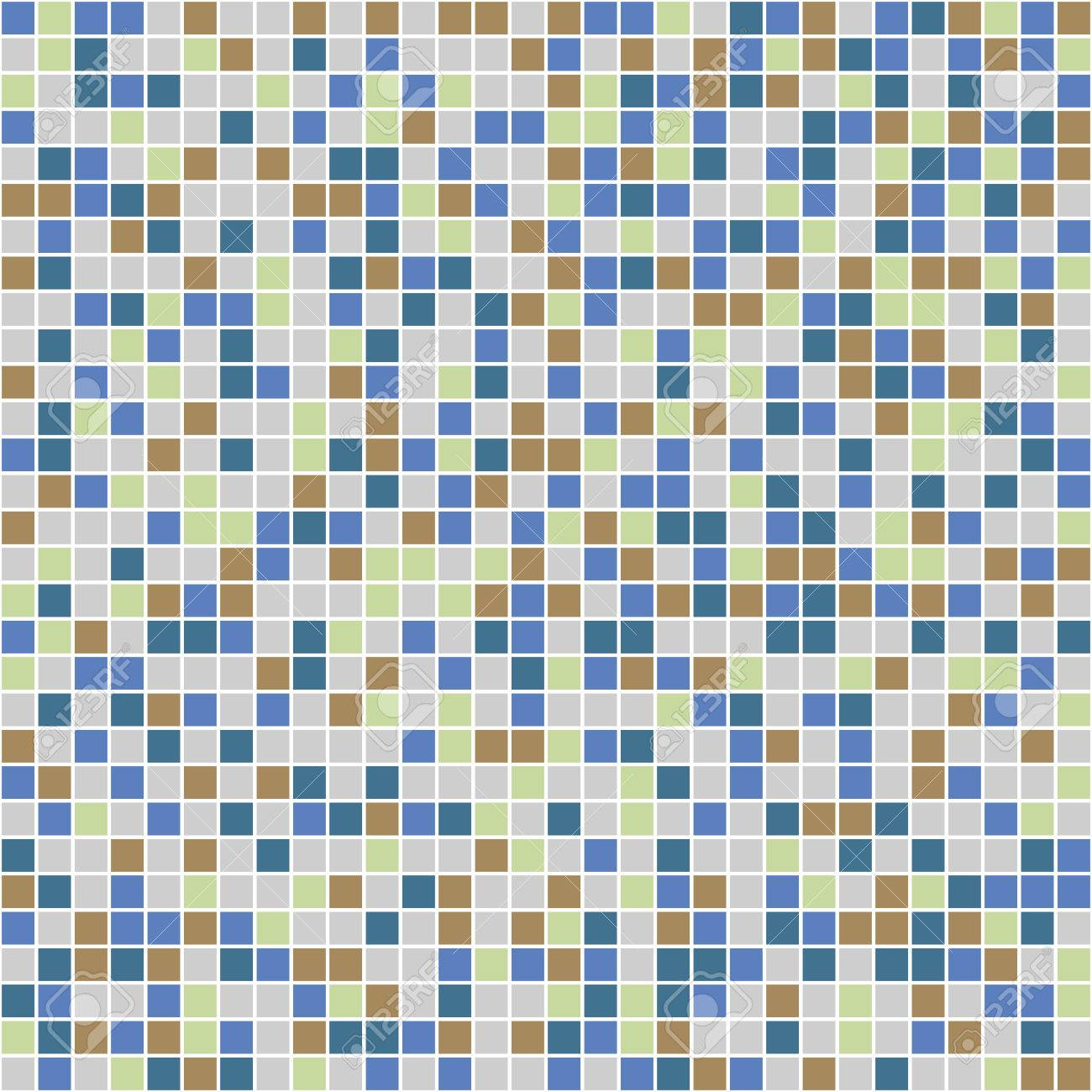 Color Ceramic Tile Mosaic In Swimming Pool. Vector Seamless Pattern ...