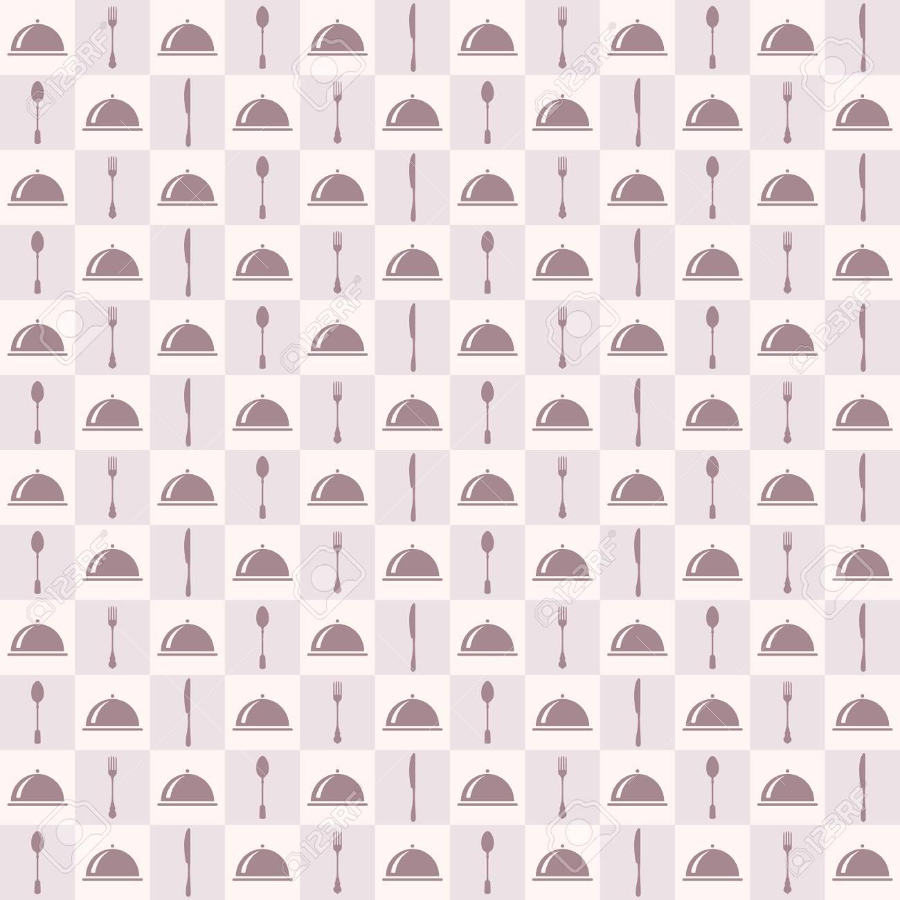 Nahtloses Muster Des Restaurantmenüs. Vektor Hintergrund. Pastell ...