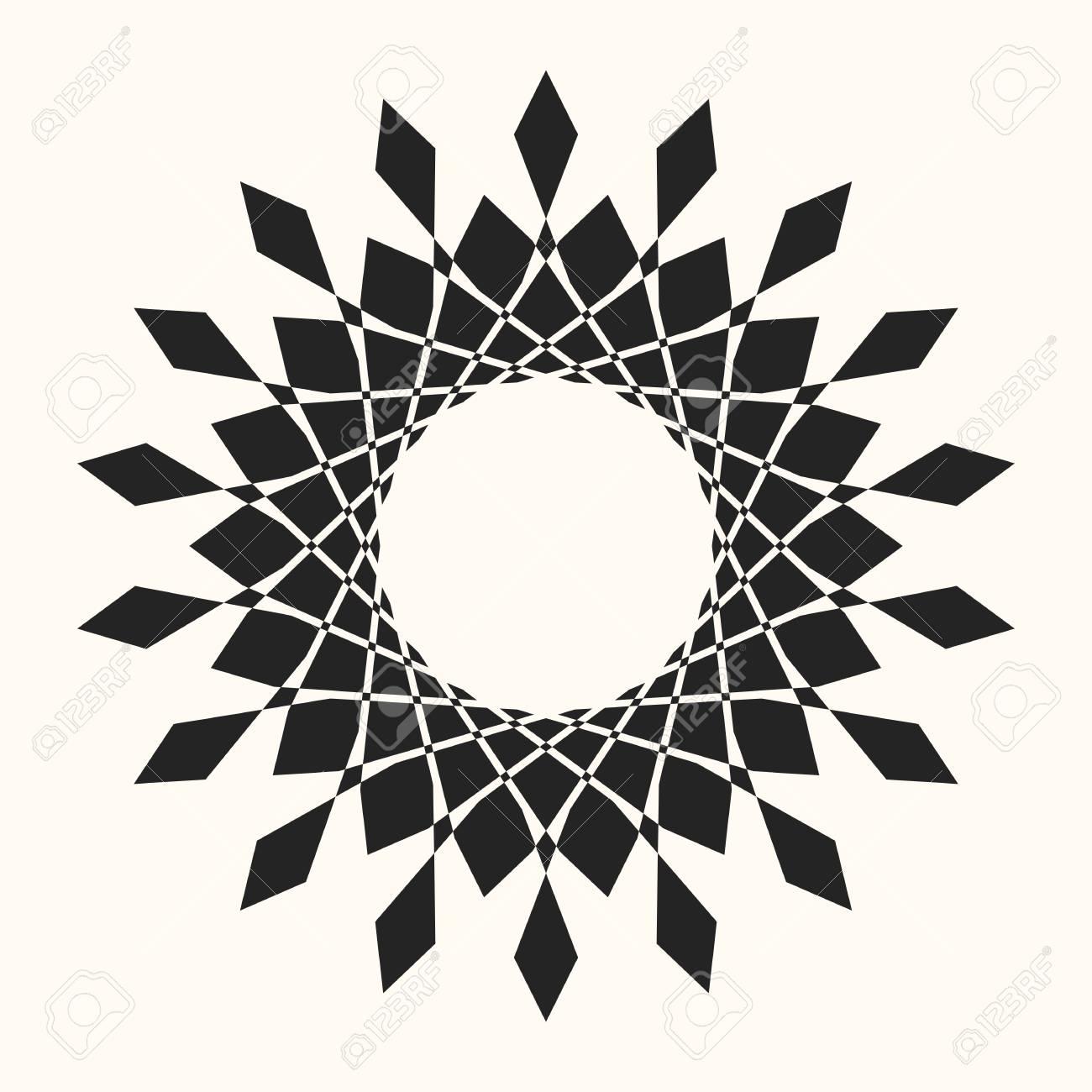 Black Abstract Vector Circle Frame. Halftone Dot. Round Logo ...