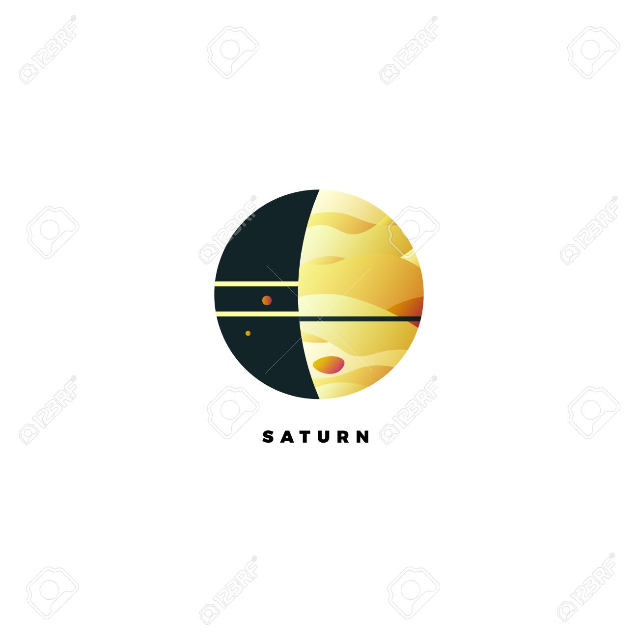 Saturn Vector Logo Design Template Of Planet With Rings Company