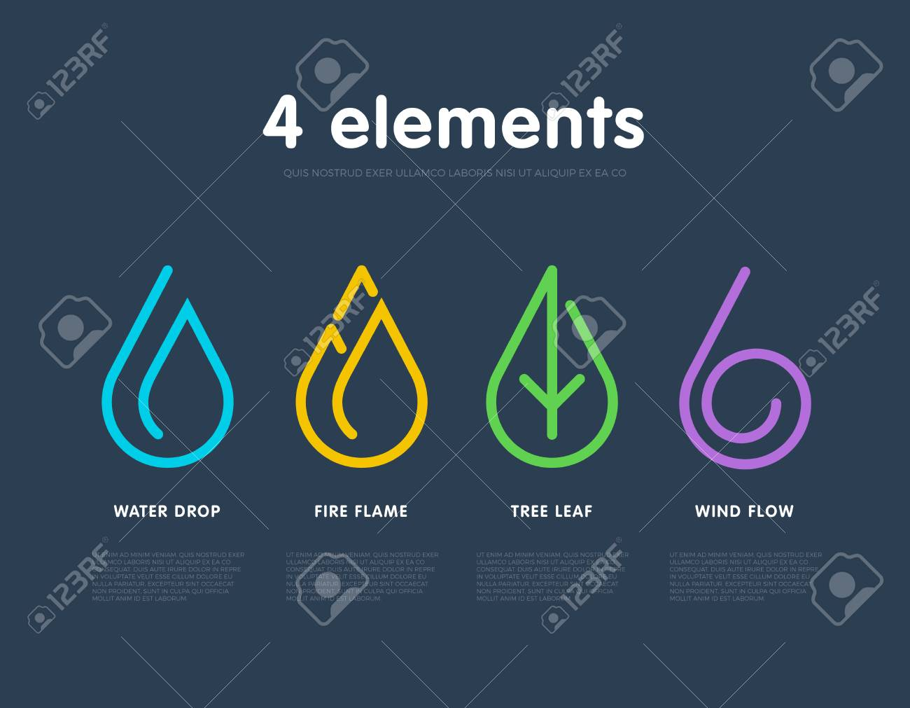 Nature Elements Water Fire Earth Air Infographic Elements Nature Icon