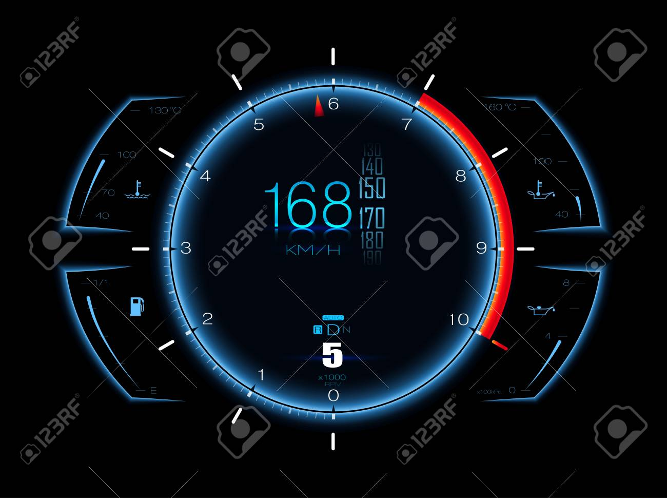 Realistic Sport Car Speed Meter Dashboard Lights Royalty Free
