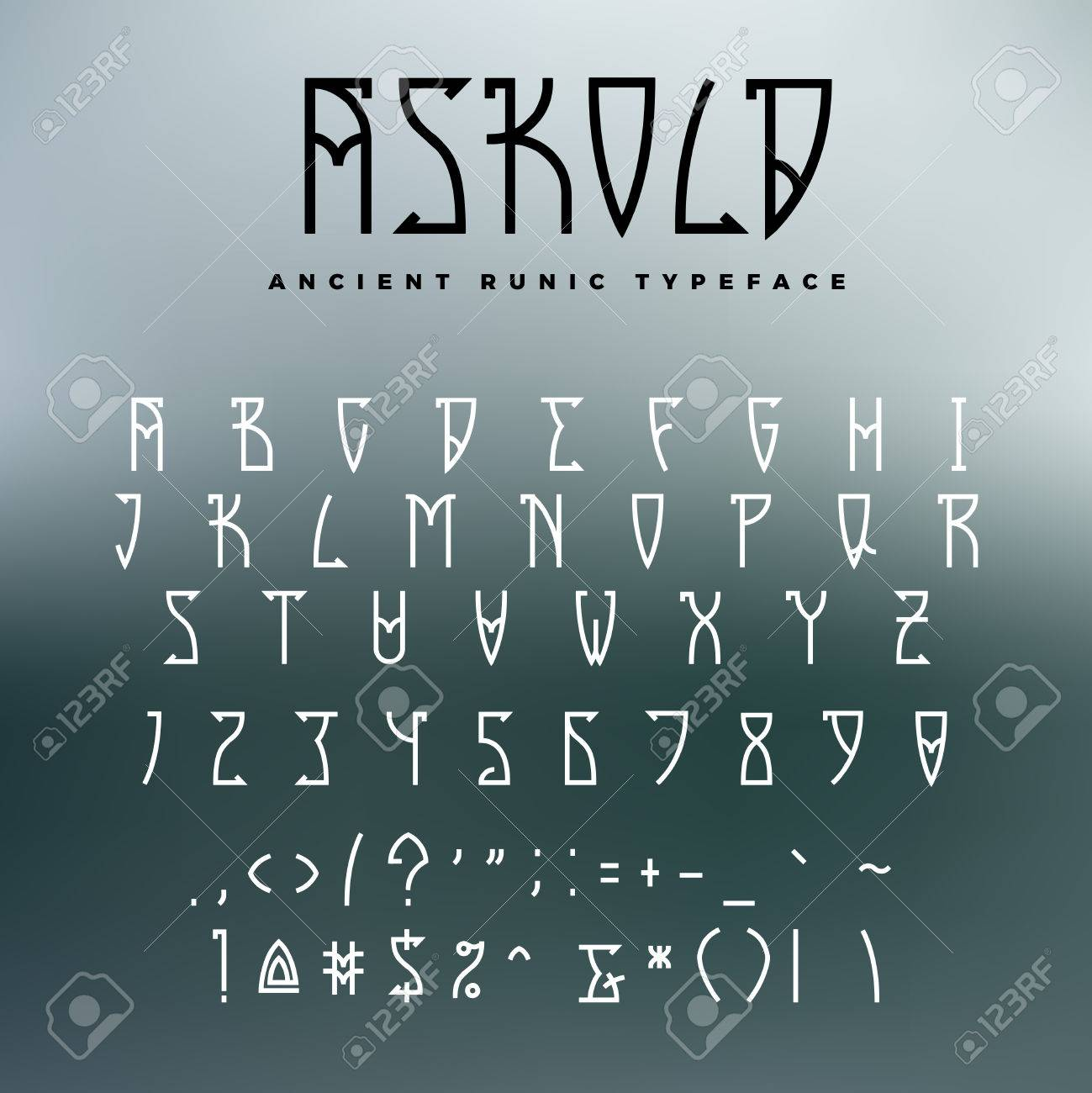 Celtic Or Runic Typeface With Uppercase Letters Numbers And Additional Symbols Slub Serif Font