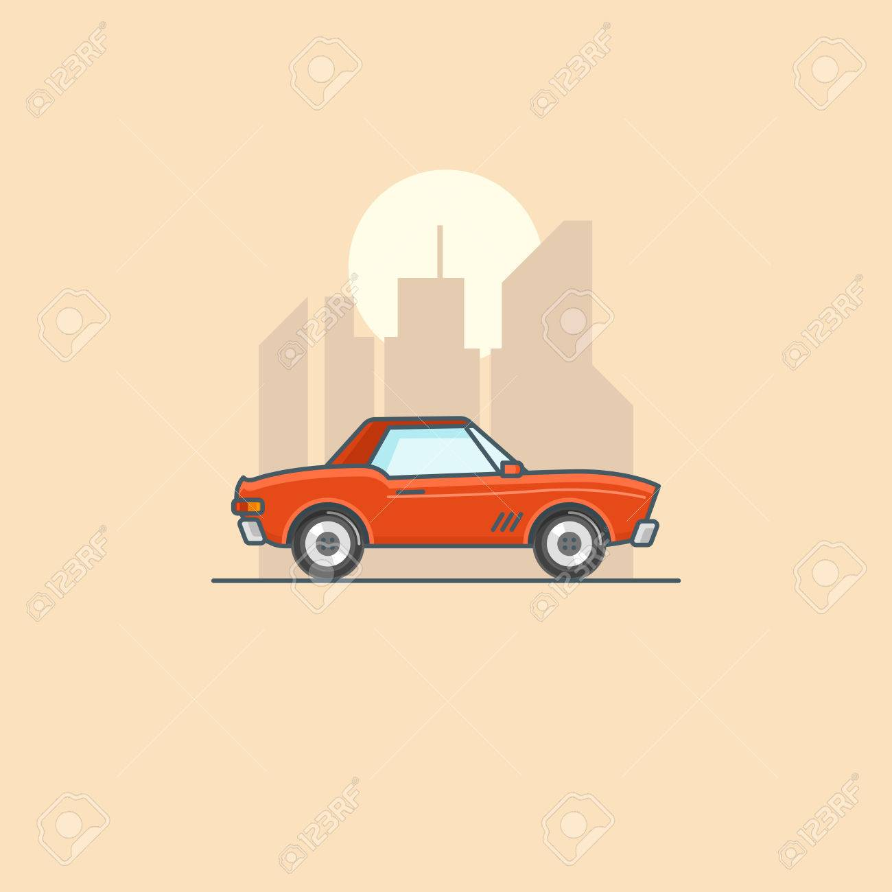 Retro American Muscle Car In City Line Art Cartoon Illustration
