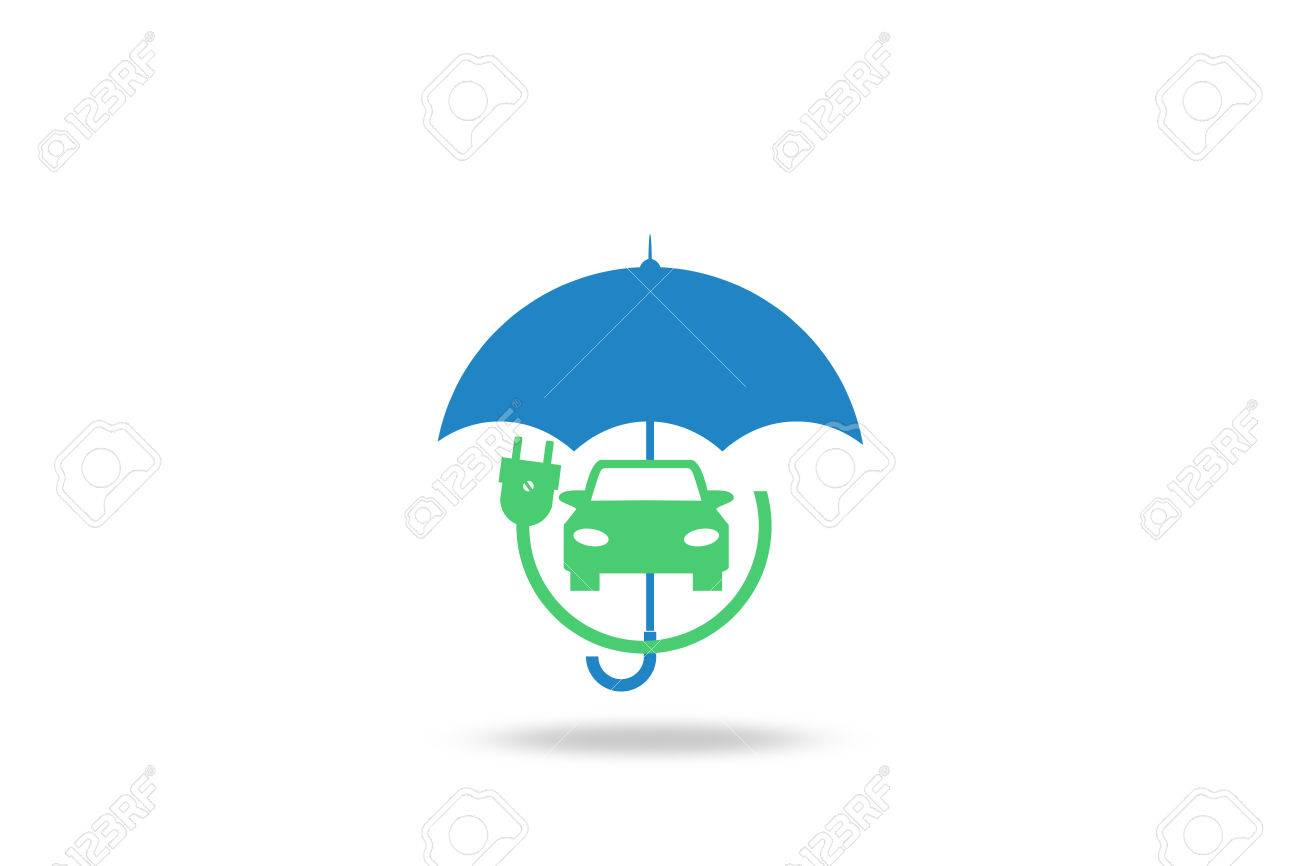 Electric Car Insurance Electric Cars Umbrella White Background
