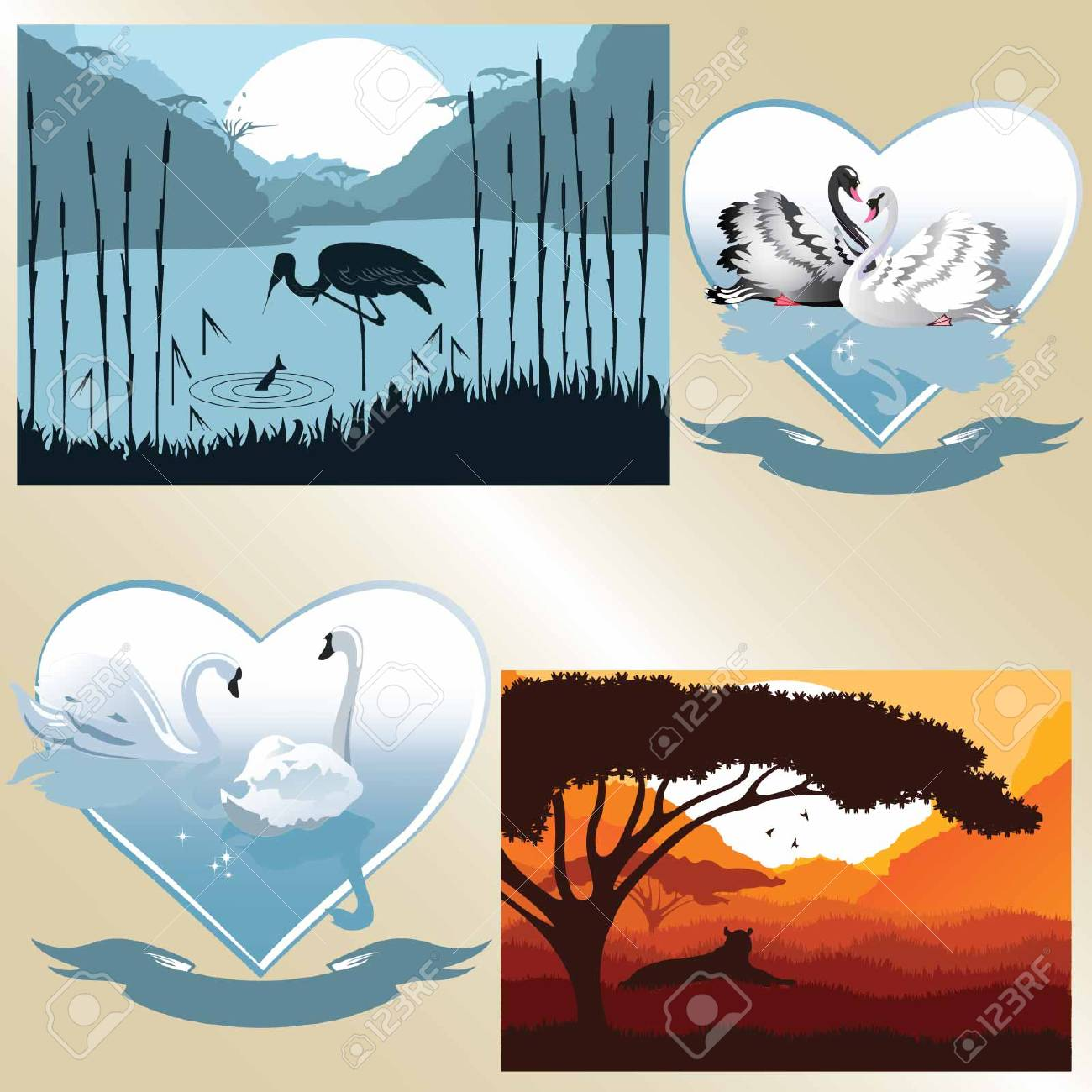 Set of vector pictures on romantic and natural theme  Nature and couple of swans Stock Vector - 24193841