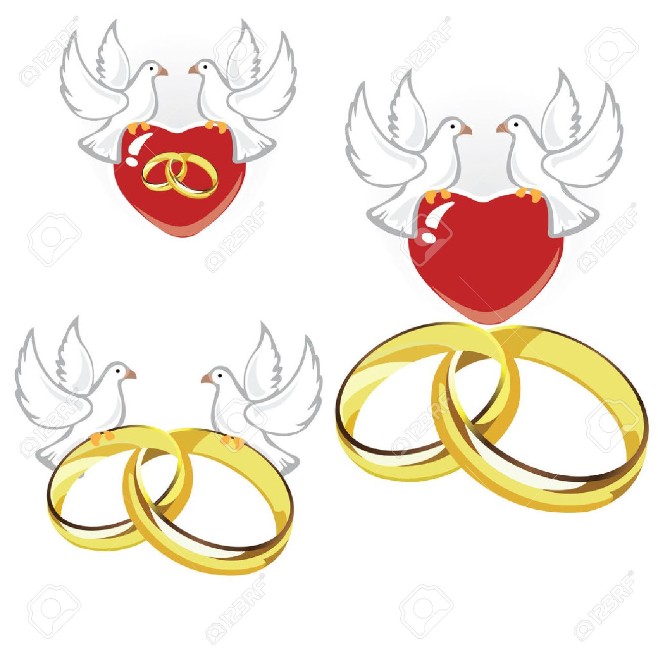 Wedding Rings Hearts And Doves Royalty Free Cliparts Vectors