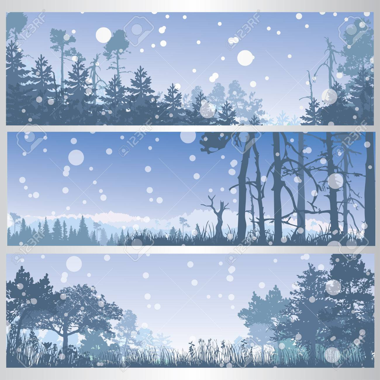 set of winter forest banners royalty free cliparts vectors and