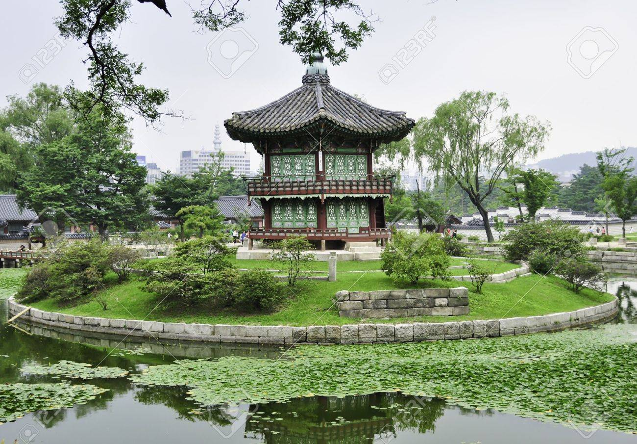 A Chinese Style Pagoda In A Buddhist Garden In Seoul, Korea Stock Photo    10820561