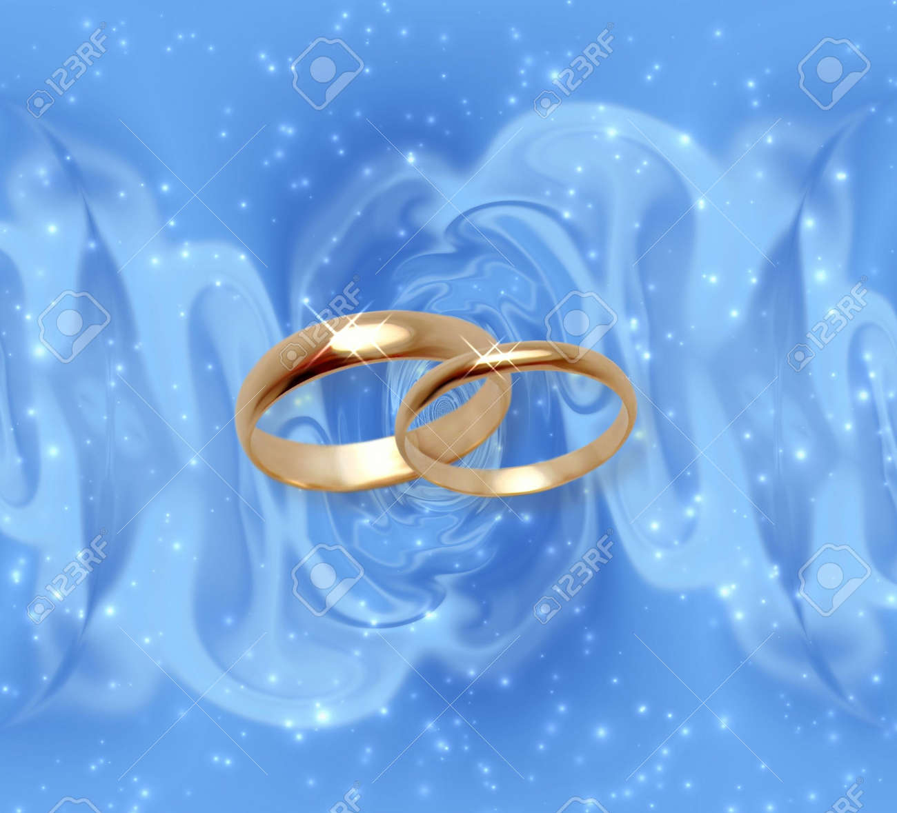 Abstract Snow Background With Wedding Rings
