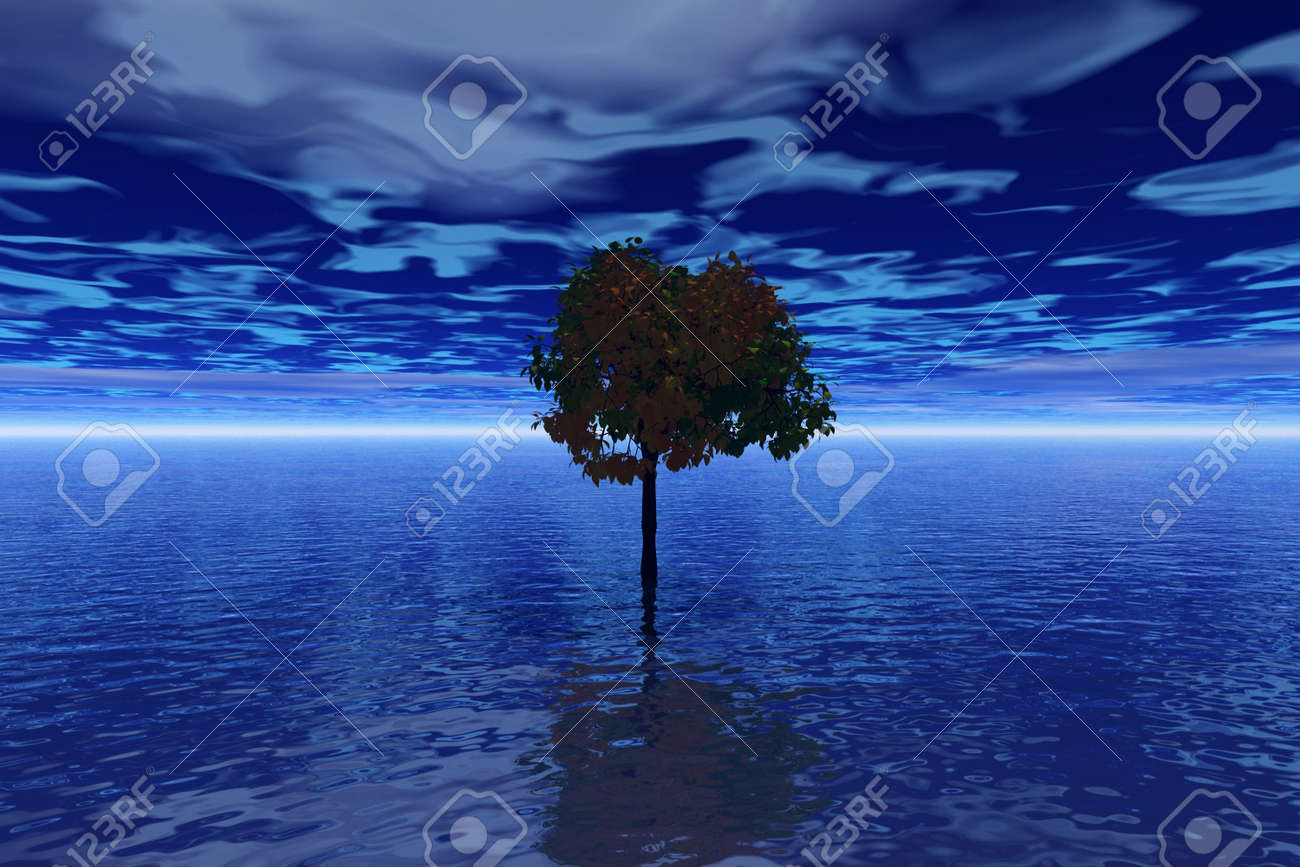 Evening. Abstraction illustration with sea and trees Stock Photo - 569353