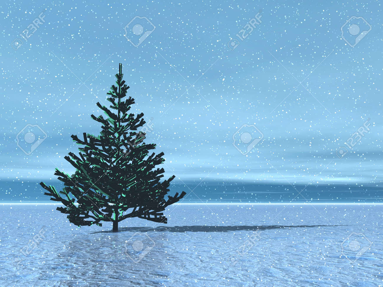 Lonely Christmas.Lonely Christmas Tree In Arctic