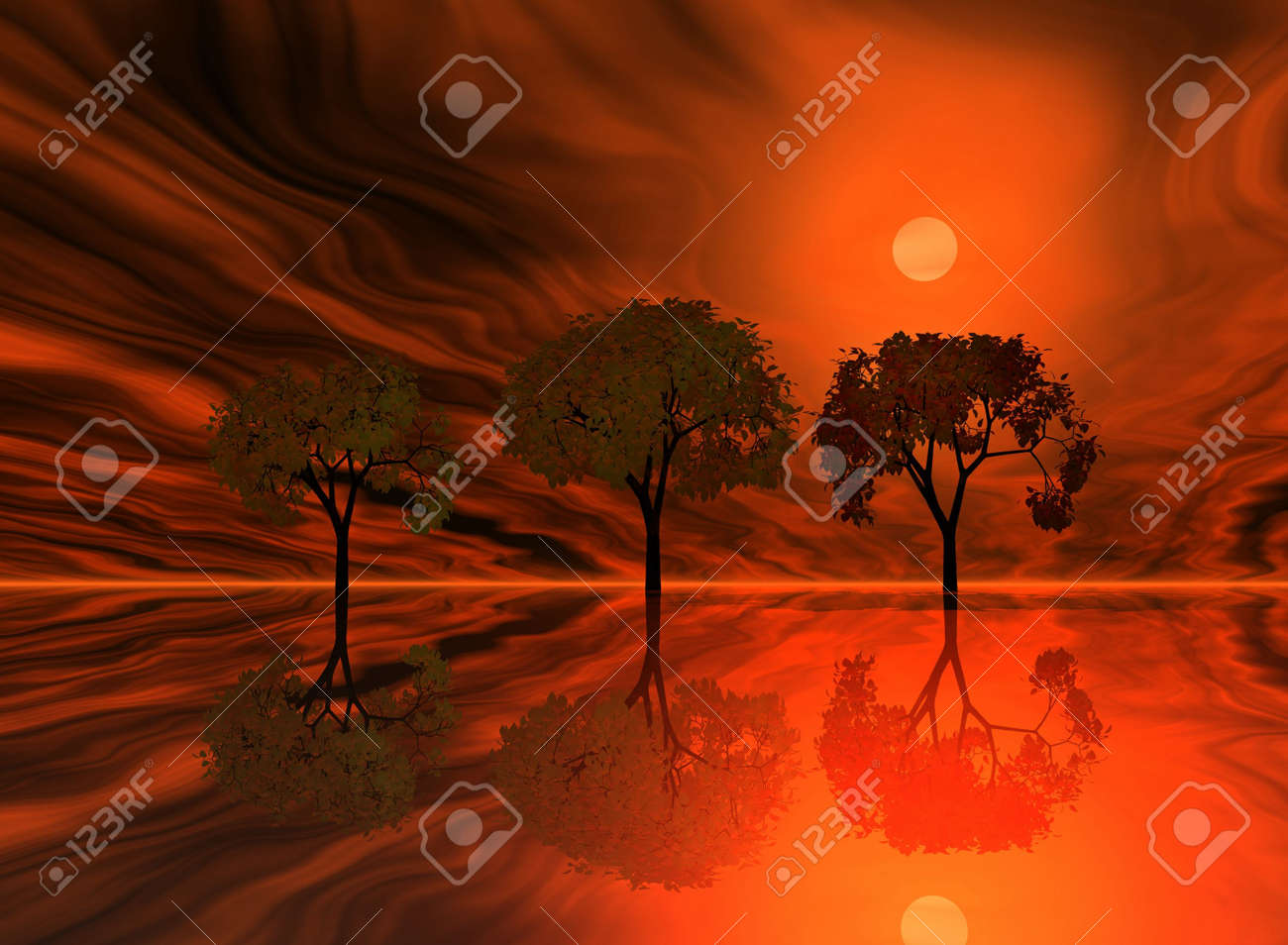 Red sunset. Abstraction landscape with trees and ocean. Stock Photo - 710429
