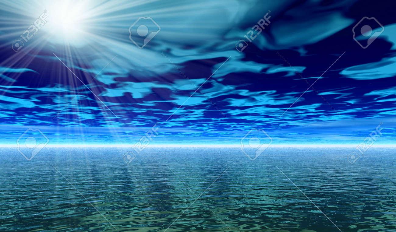 Misty rays. 3D landscape Stock Photo - 1216089