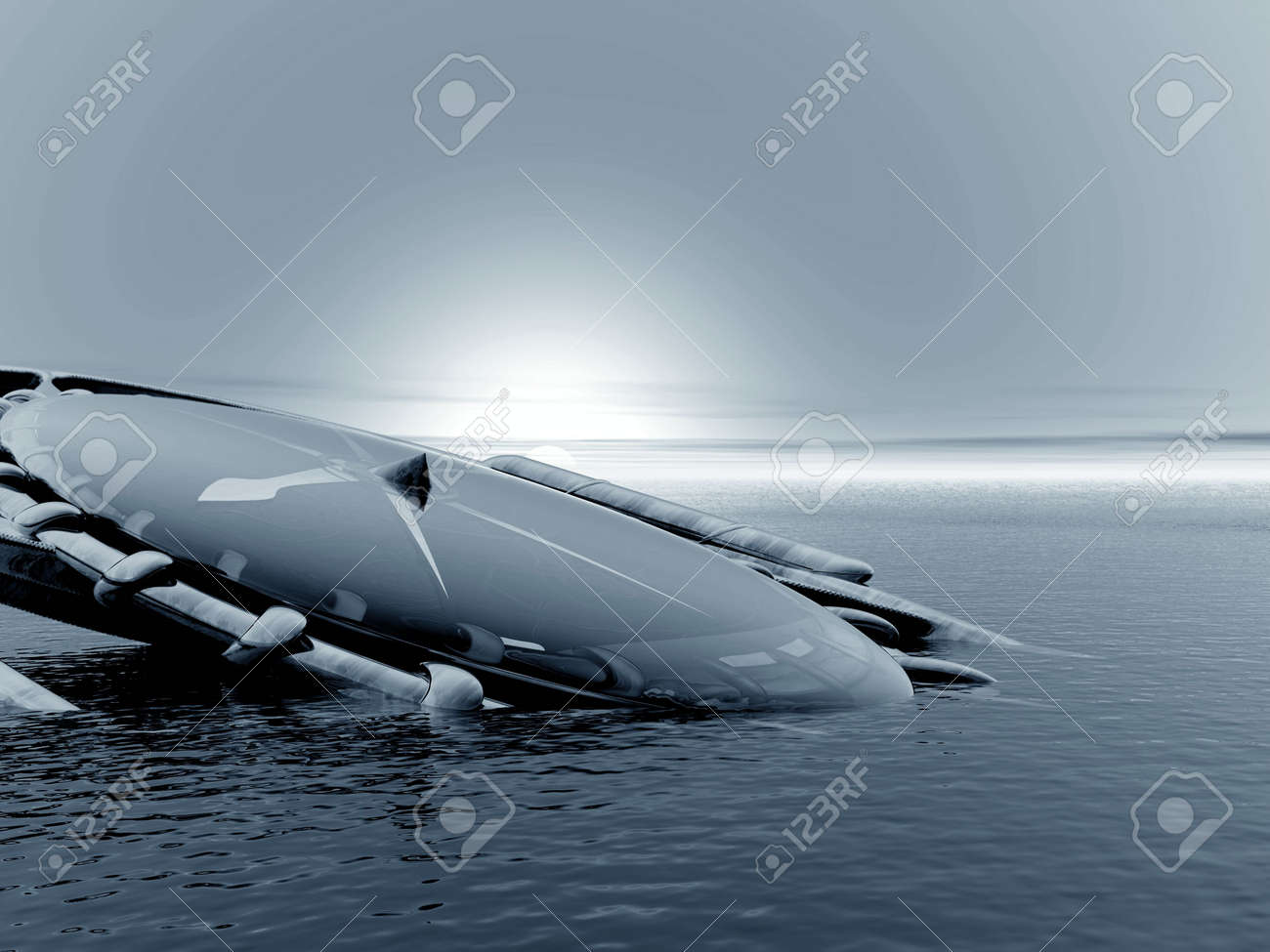 Abstraction 3d landscape with compass Stock Photo - 1230398