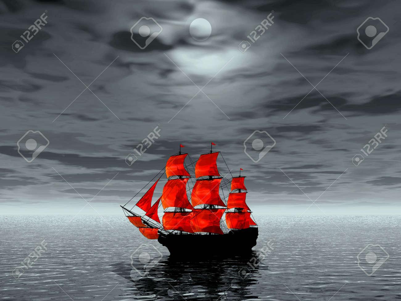 Scarlet sails. 3D landscape Stock Photo - 1230407