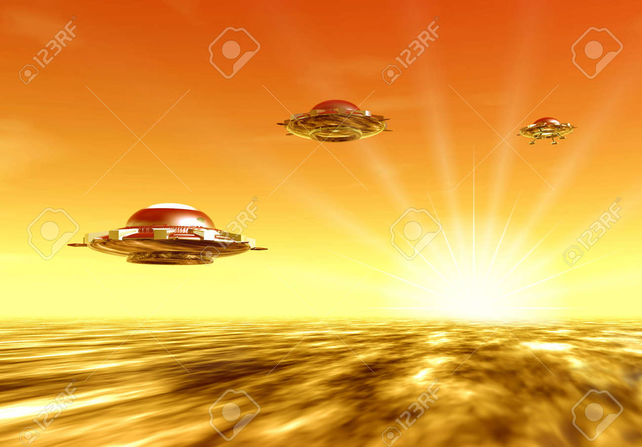 Ufo and sun. Sunset. 3D landscape Stock Photo - 1230410