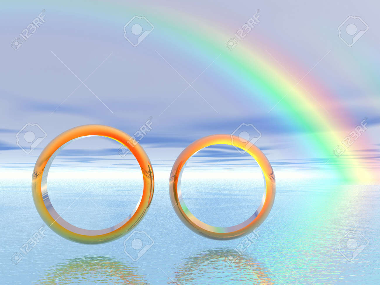 wedding rings 3d landscape rainbow stock photo 2032721 - Rainbow Wedding Rings