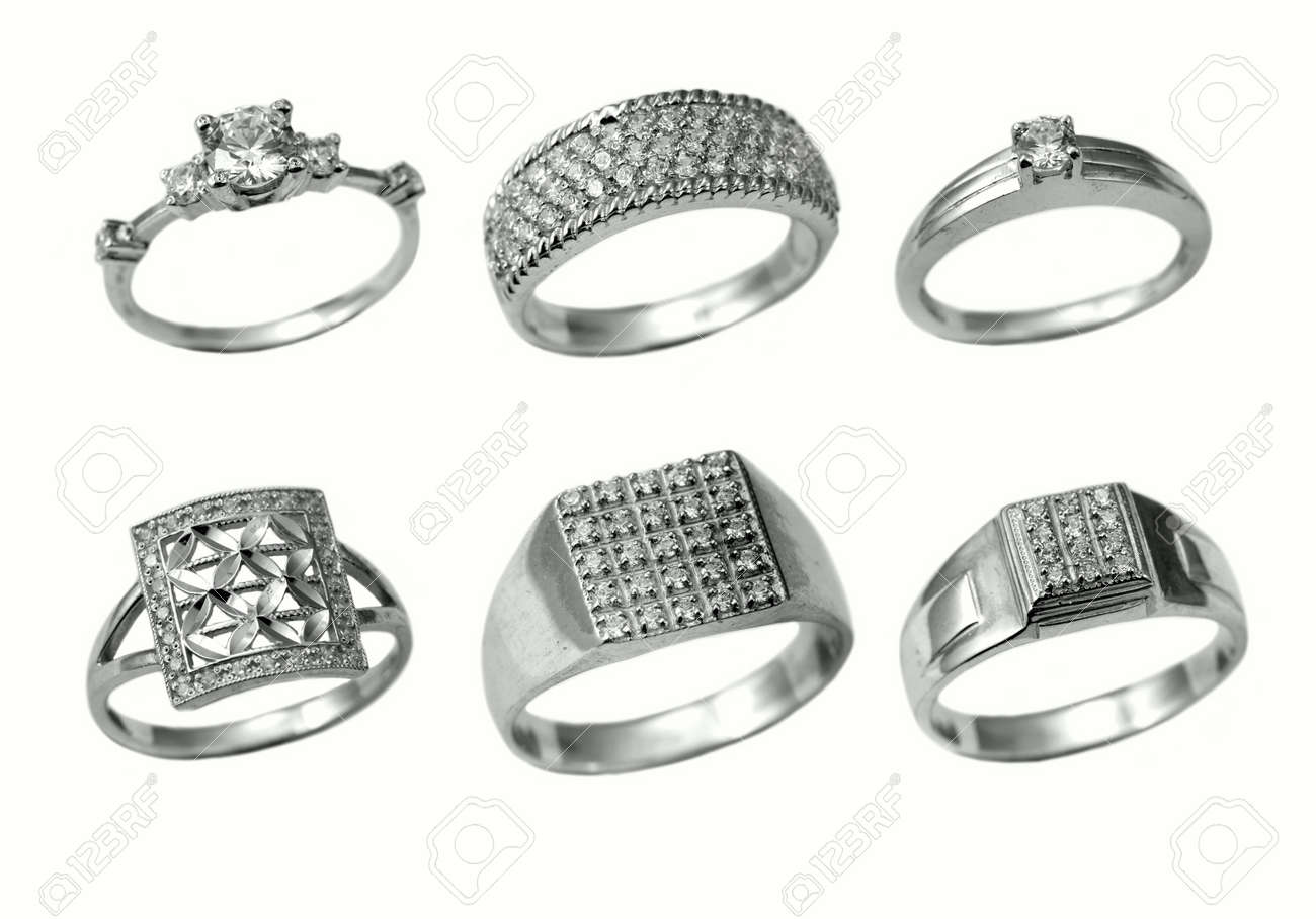 Silver  rings isolated on white background Stock Photo - 3883093