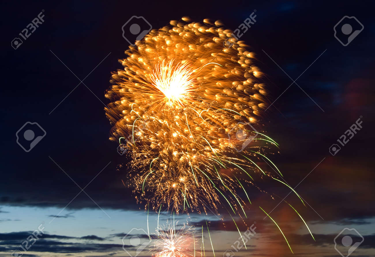 Celebratory bright firework in night sky Stock Photo - 6052252