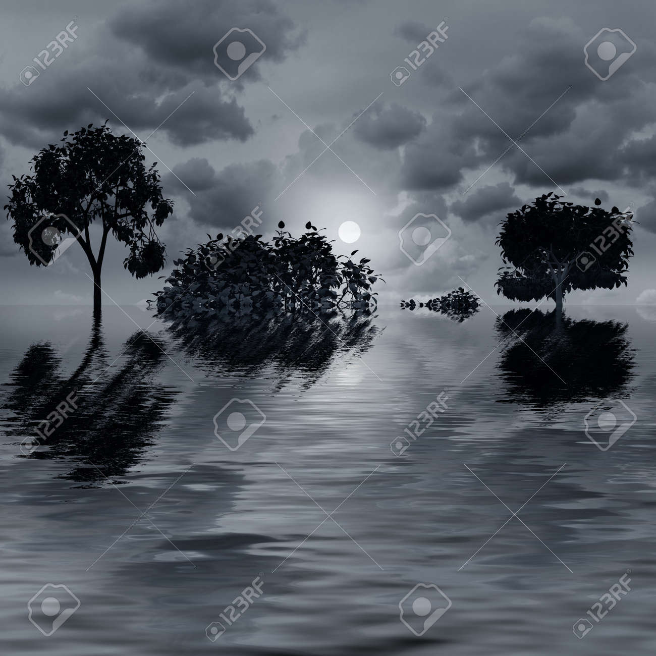 Night fantasy landscape with  tree reflected in water Stock Photo - 7996121