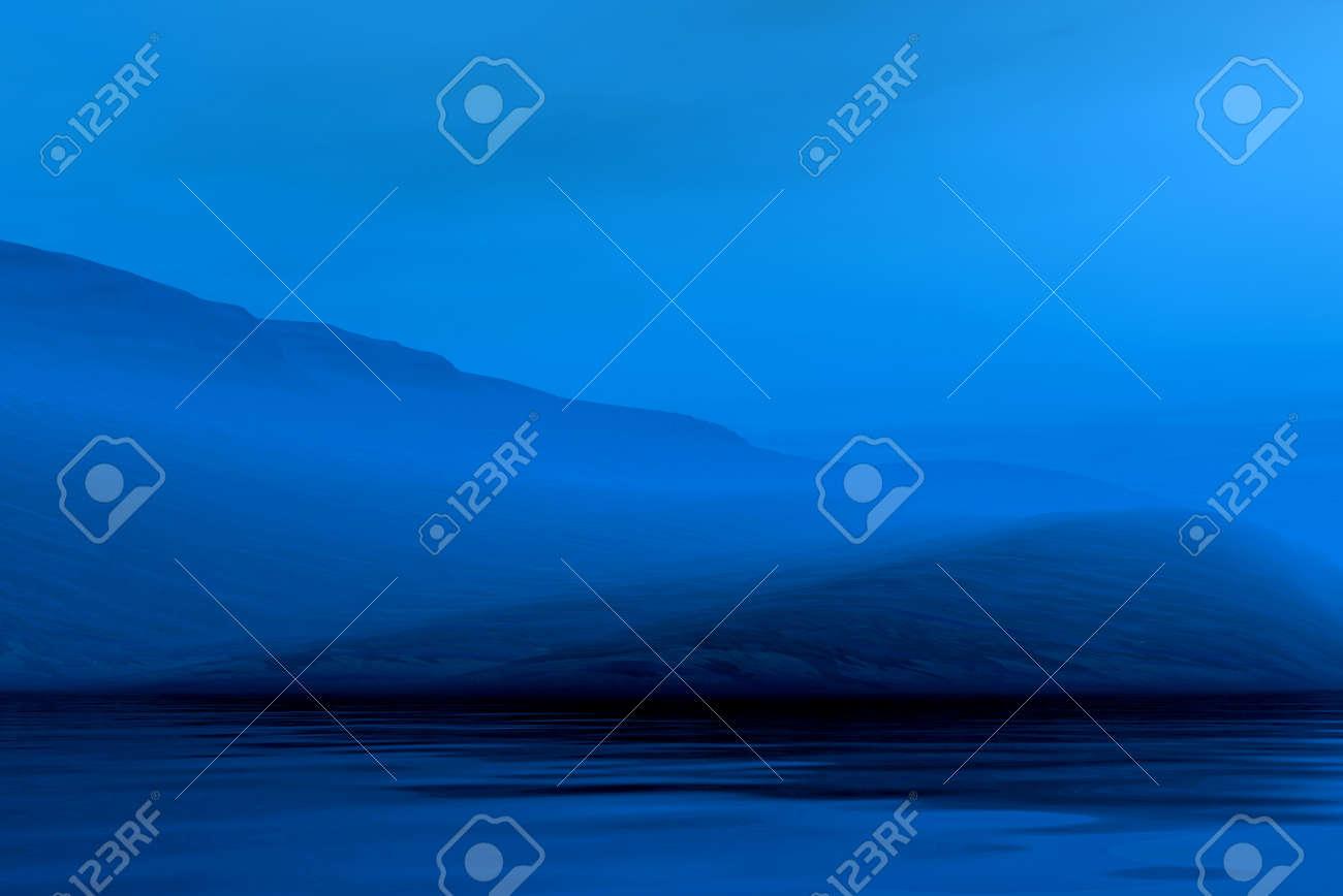 Night 3d graphics misty blue landscape - mountains Stock Photo - 8021566