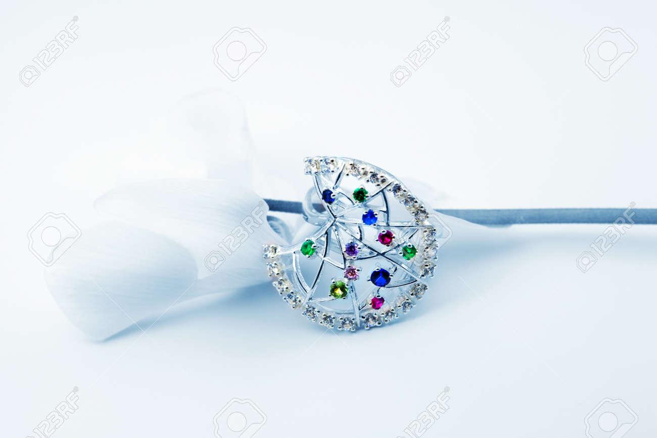 Elegant female jewelry ring with jewel stone Stock Photo - 8637029