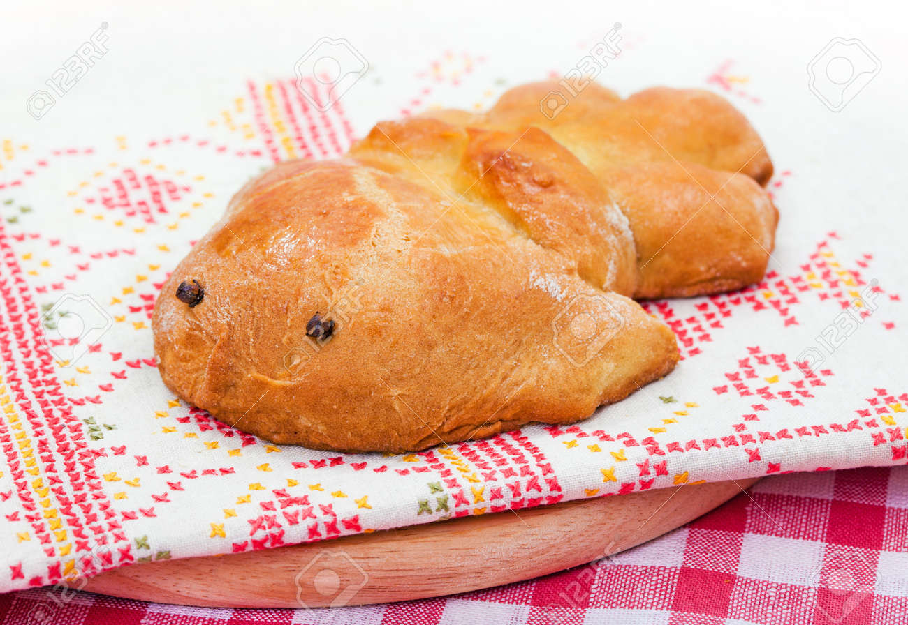 Traditional Food For Russian Holiday Baked Bird On Embroidery