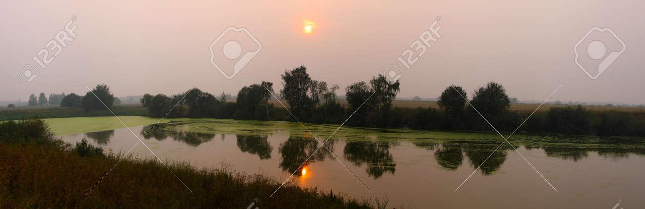 Beautiful nature, panoramic scenery. Small Rivers of Russia, sunset Stock Photo - 10068486