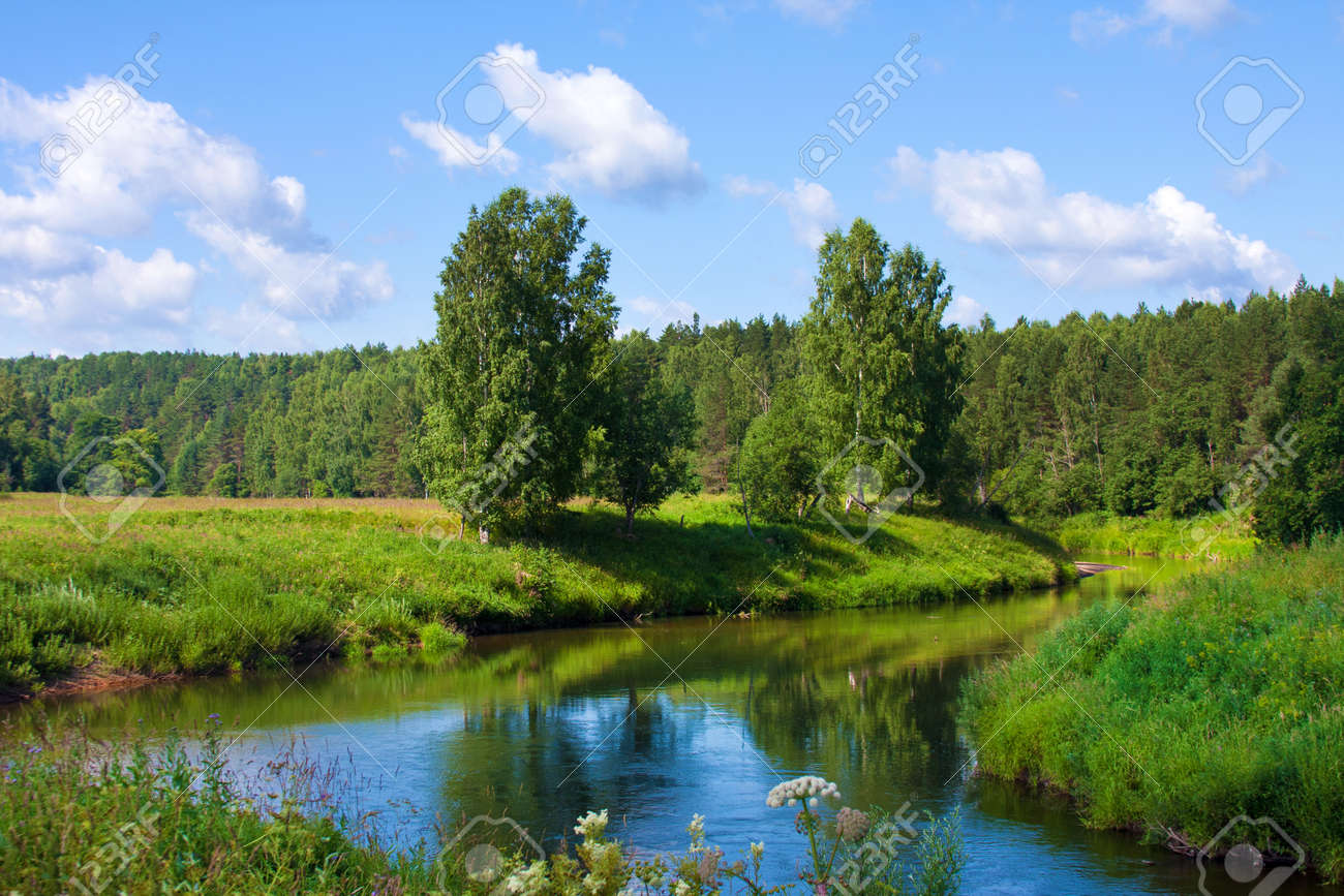 beautiful nature, summer. scenery with river and forest stock photo