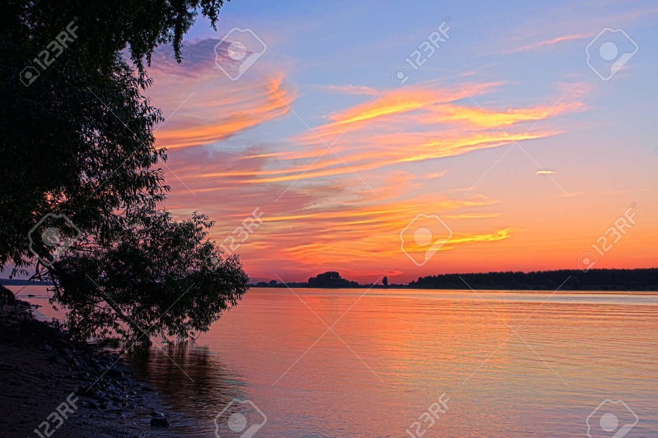 Beautiful Nature Panoramic Scenery Small River And Sunset Stock Photo