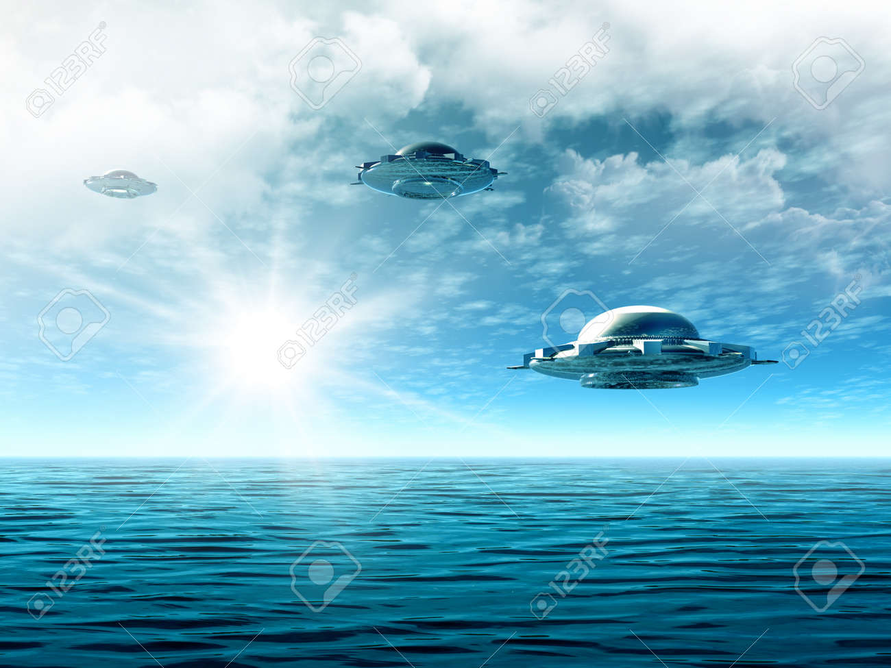 Fantastic cloudy landscape with UFO and ocean. Illustration Stock Photo - 11340109