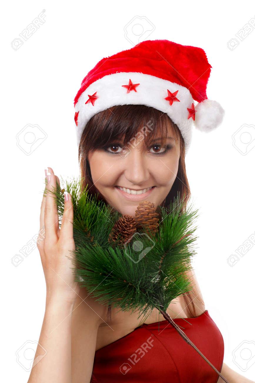 Charming young woman in santa cap. Fashion studio portrait Stock Photo - 16014417