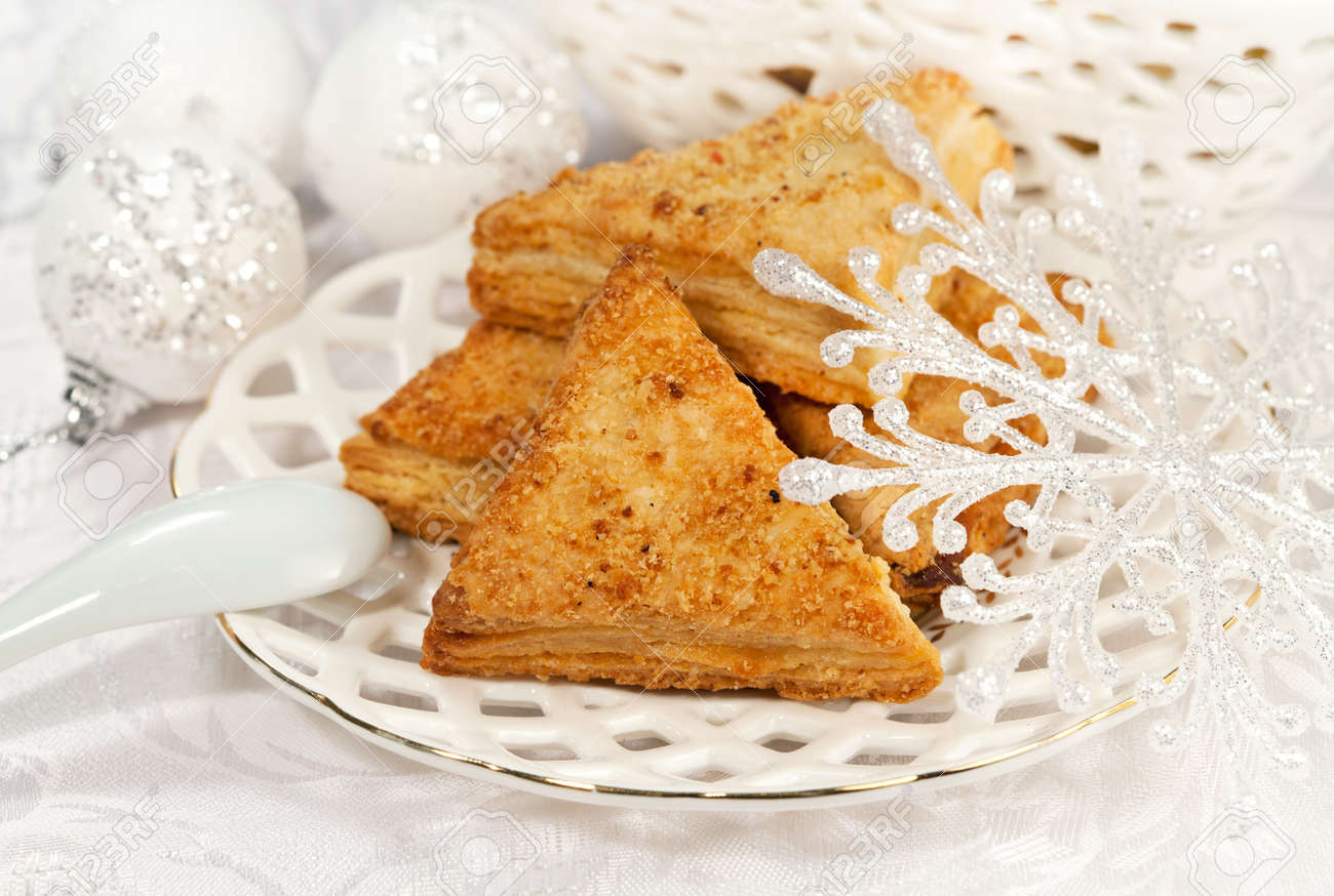 Tasty pie for dessert on a holiday and Christmas decor Stock Photo - 16539227