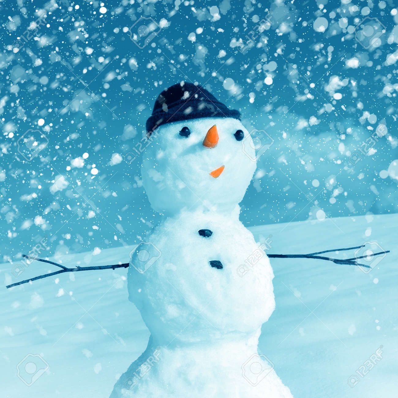 Snow man in santa cap on nature in sunny cold day Stock Photo - 16690624