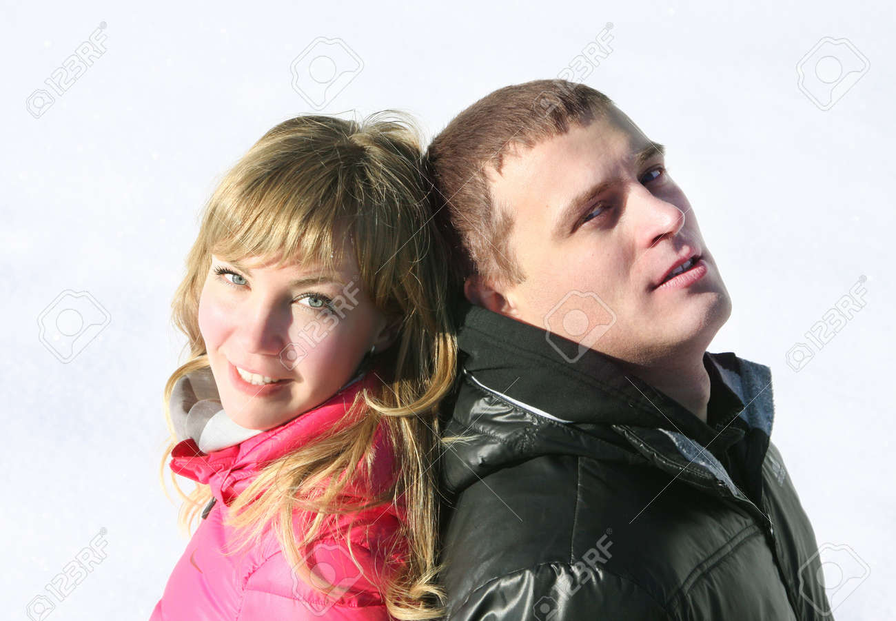 Young loving couple on appointment on the nature, winter season Stock Photo - 18359557