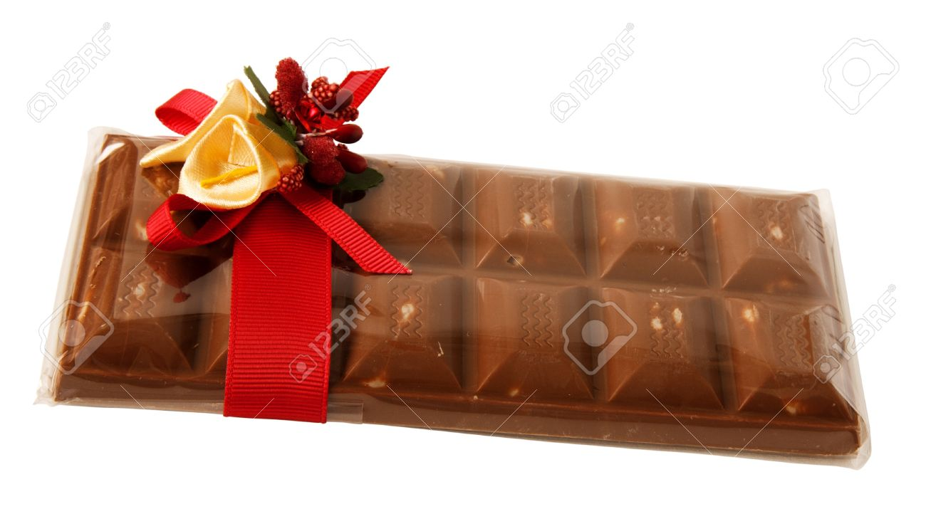 Barre De Chocolat Dans Un Emballage Cadeau Transparent Avec Ruban