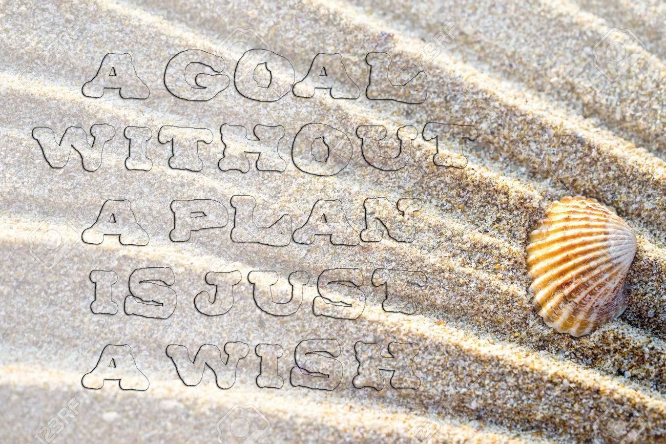 Cita De Vida Cita Inspirada En El Fondo De Arena Con Concha De Mar Tipografía Motivacional Fuente Transparente Desigual Un Objetivo Sin Un Plan Es