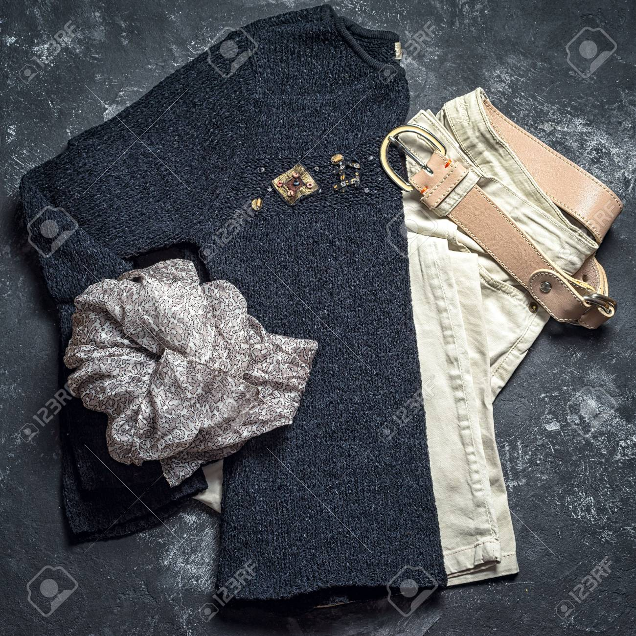 764de07fc6 Flat Lay Top View Outfit Of Casual Woman. Black Sweater