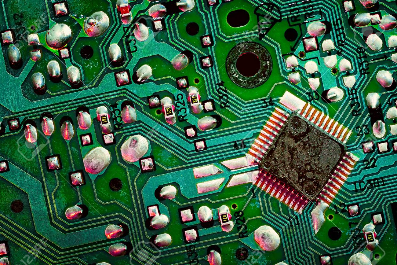 Close Up Of A Printed Green Computer Circuit Board Electronics With Components Royalty Free Stock And It Manufacturing Business