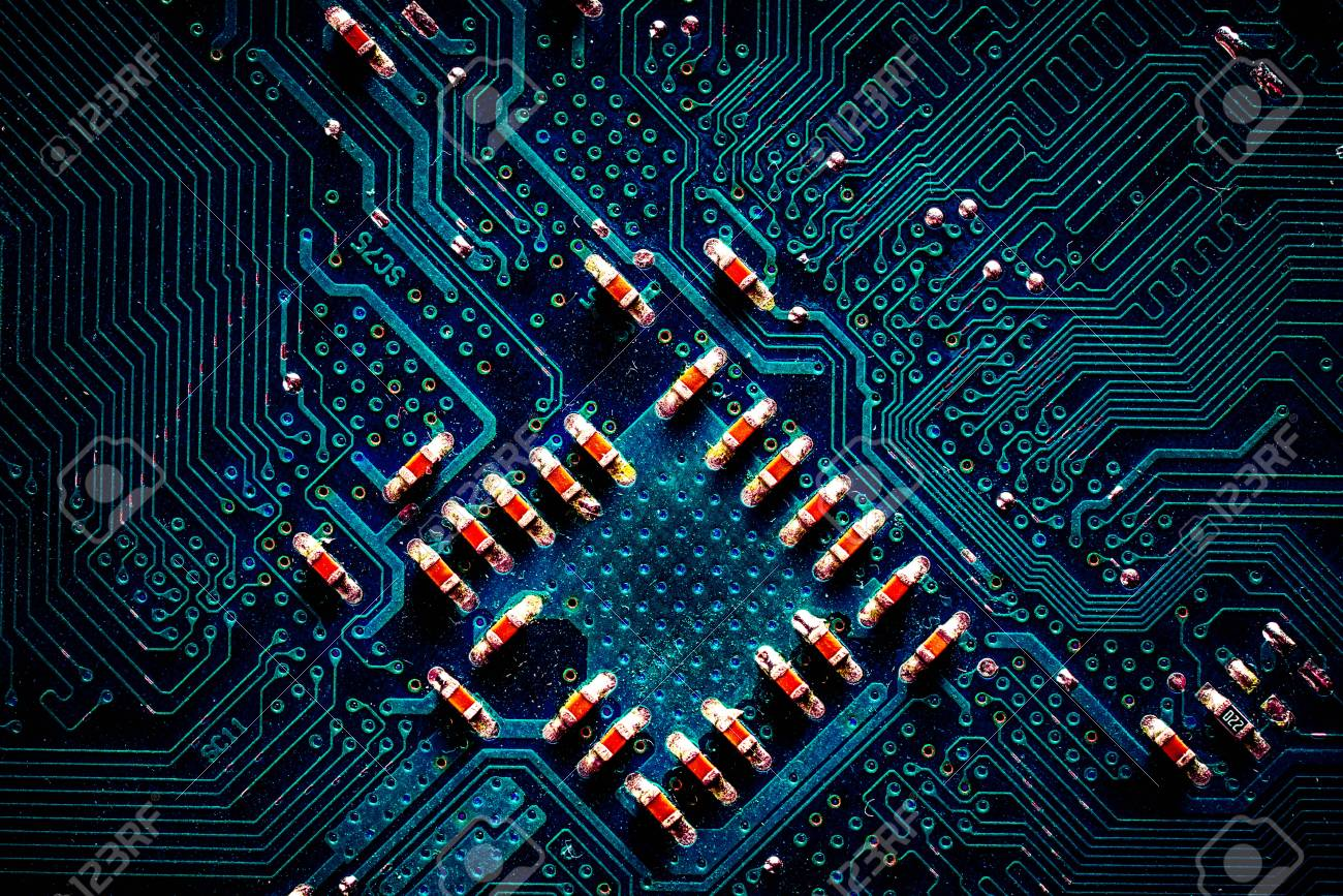 Detail Of Printed Circuit Board Old Motherboard Stock Photo Electronic Royalty Free Image 68679495