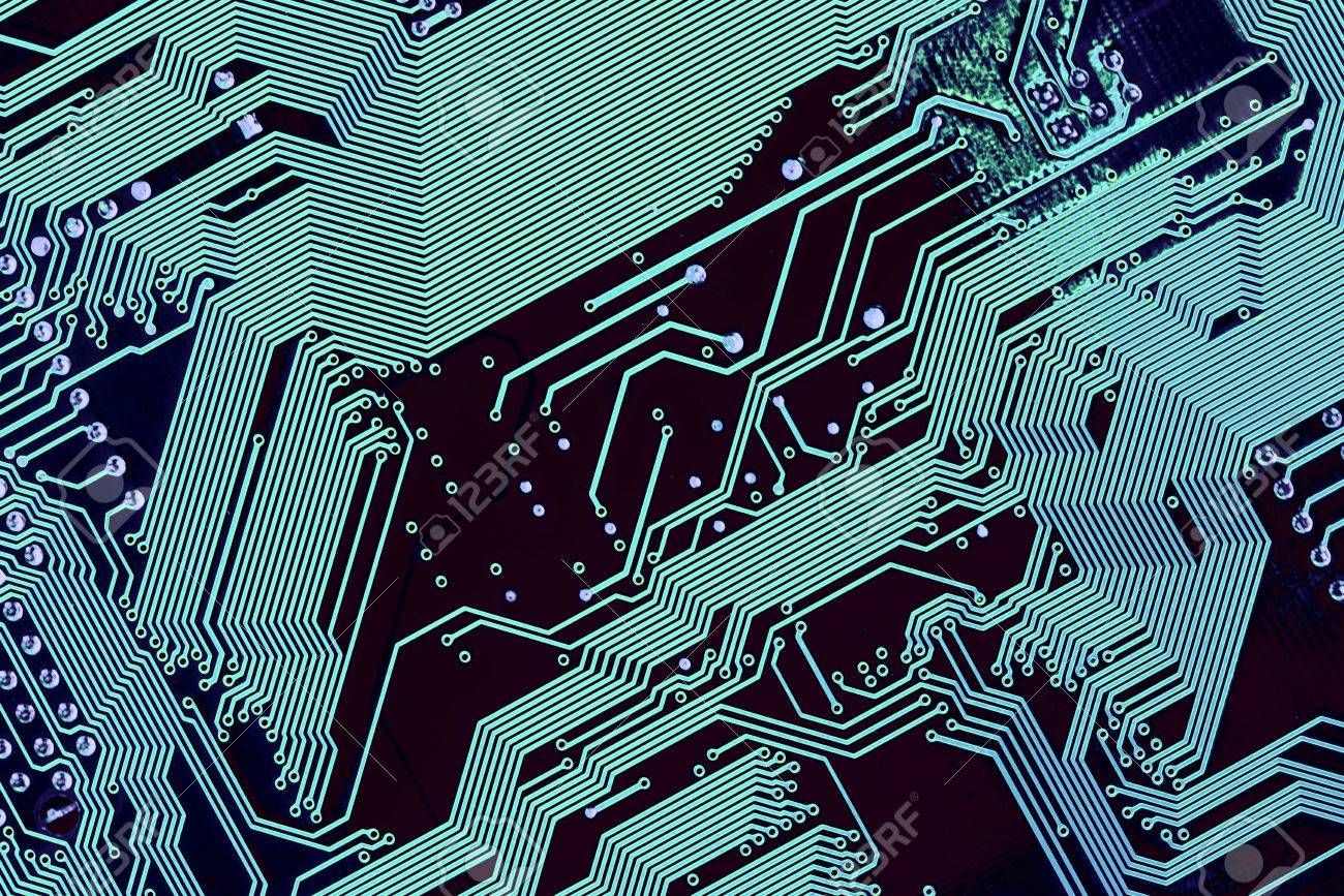 Blue Silhouette Lines Of Computer Circuit Board Stock Photo, Picture ...