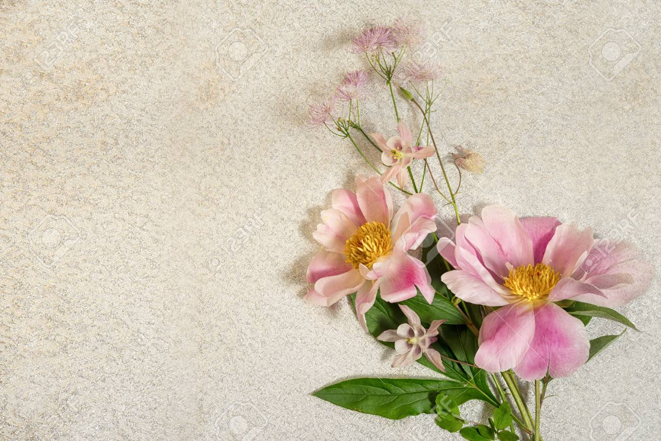 Delicate background of tree like peony and wild flowers bouquet delicate background of tree like peony and wild flowers bouquet on a background top izmirmasajfo