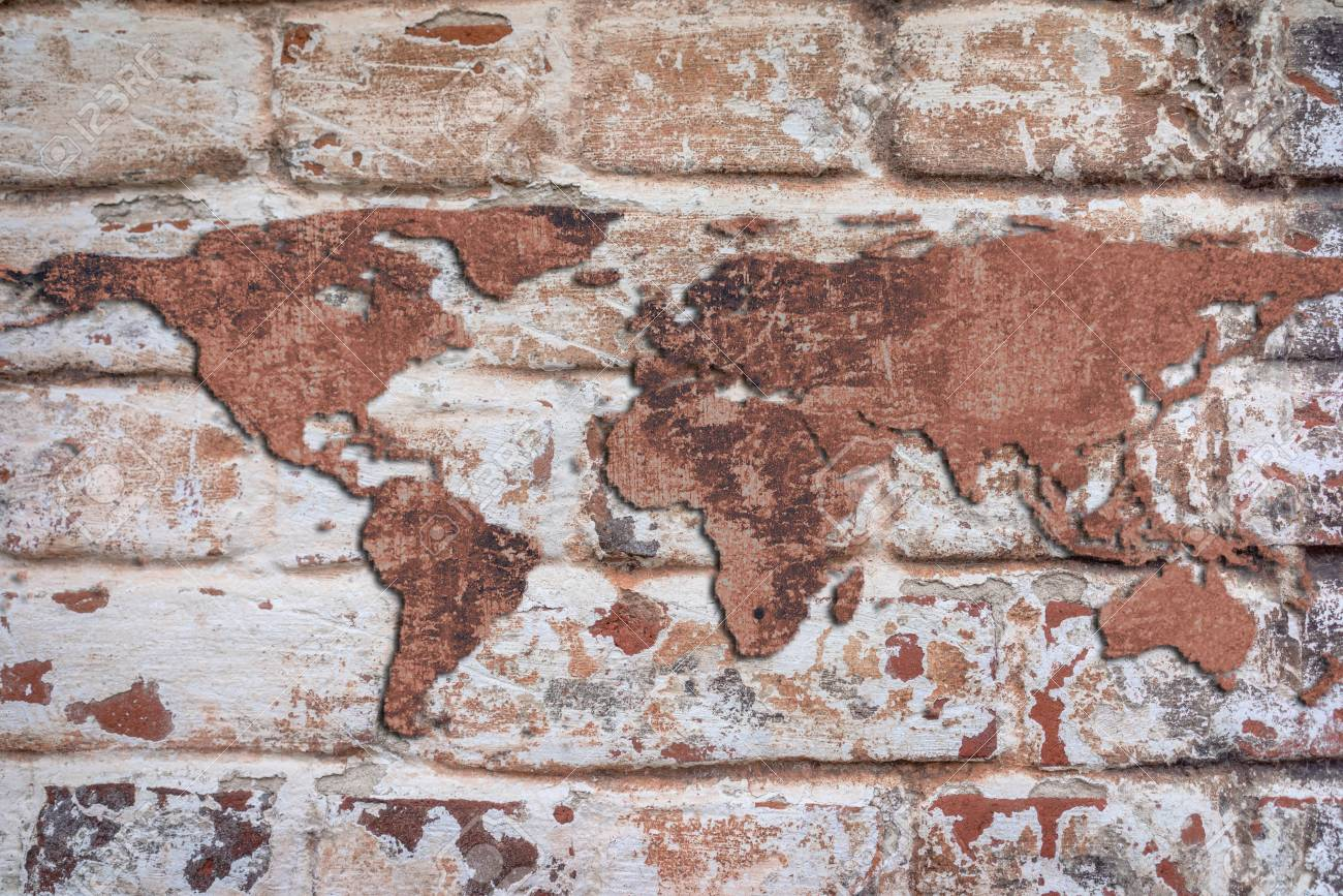 World map from a cracked stone wall on the red bricks wall stock photo world map from a cracked stone wall on the red bricks wall background grunge style gumiabroncs Gallery