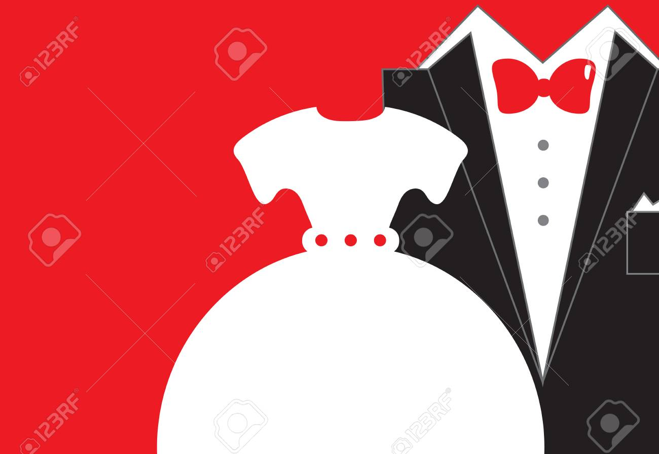 Bride And Groom Wedding Invitation In Red Black White Colors ...