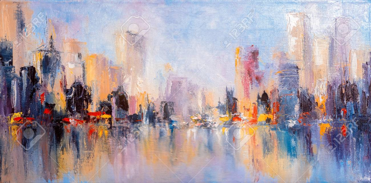 Skyline city view with reflections on water. Original oil painting on canvas, - 111442949