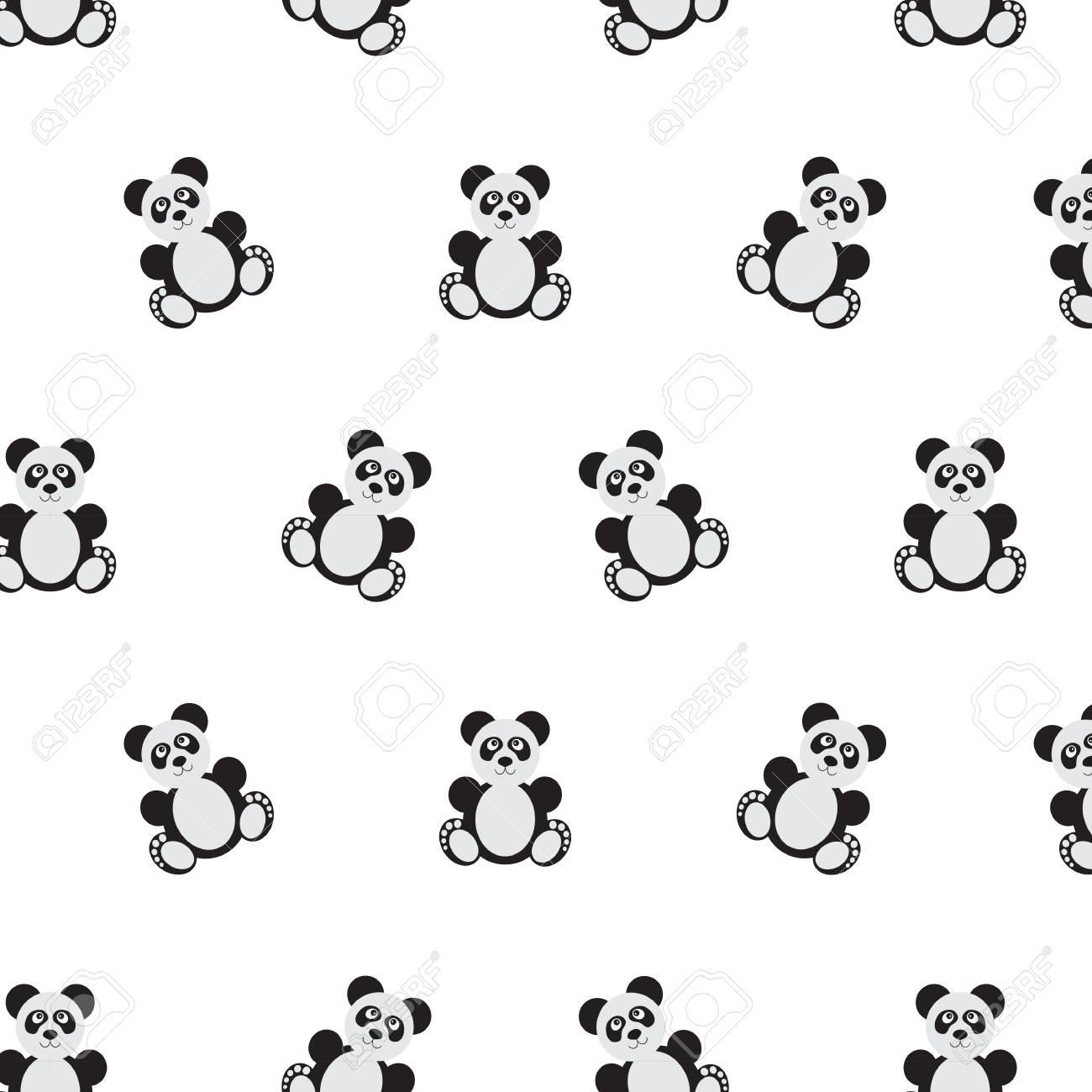 Patrón De Oso Panda. Perfecta Ilustración Vectorial. Estilo De ...