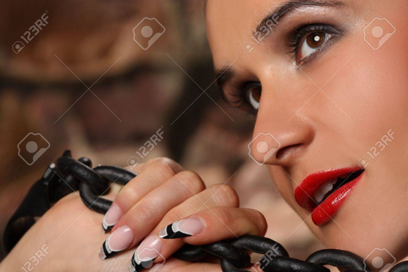 portrait of a young girl with a nice manicure Stock Photo - 7802541