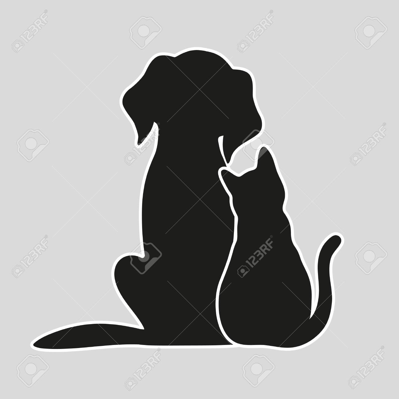 Cat and dog on a gray background - 87861826