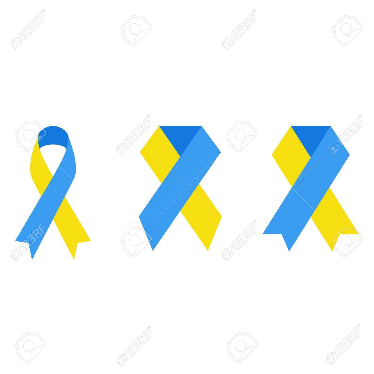 Yellow And Blue Ribbon Clipart Illustration Emblem For Down